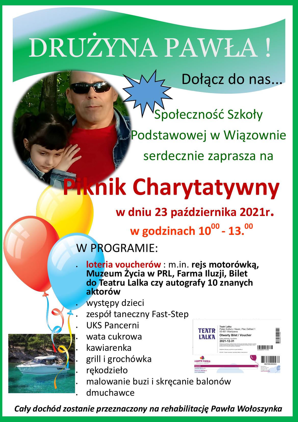 Plakat informujący o pikniku charytatywnym 23 października w godz. 10.00 - 13.00 przy szkole w Wiązownie