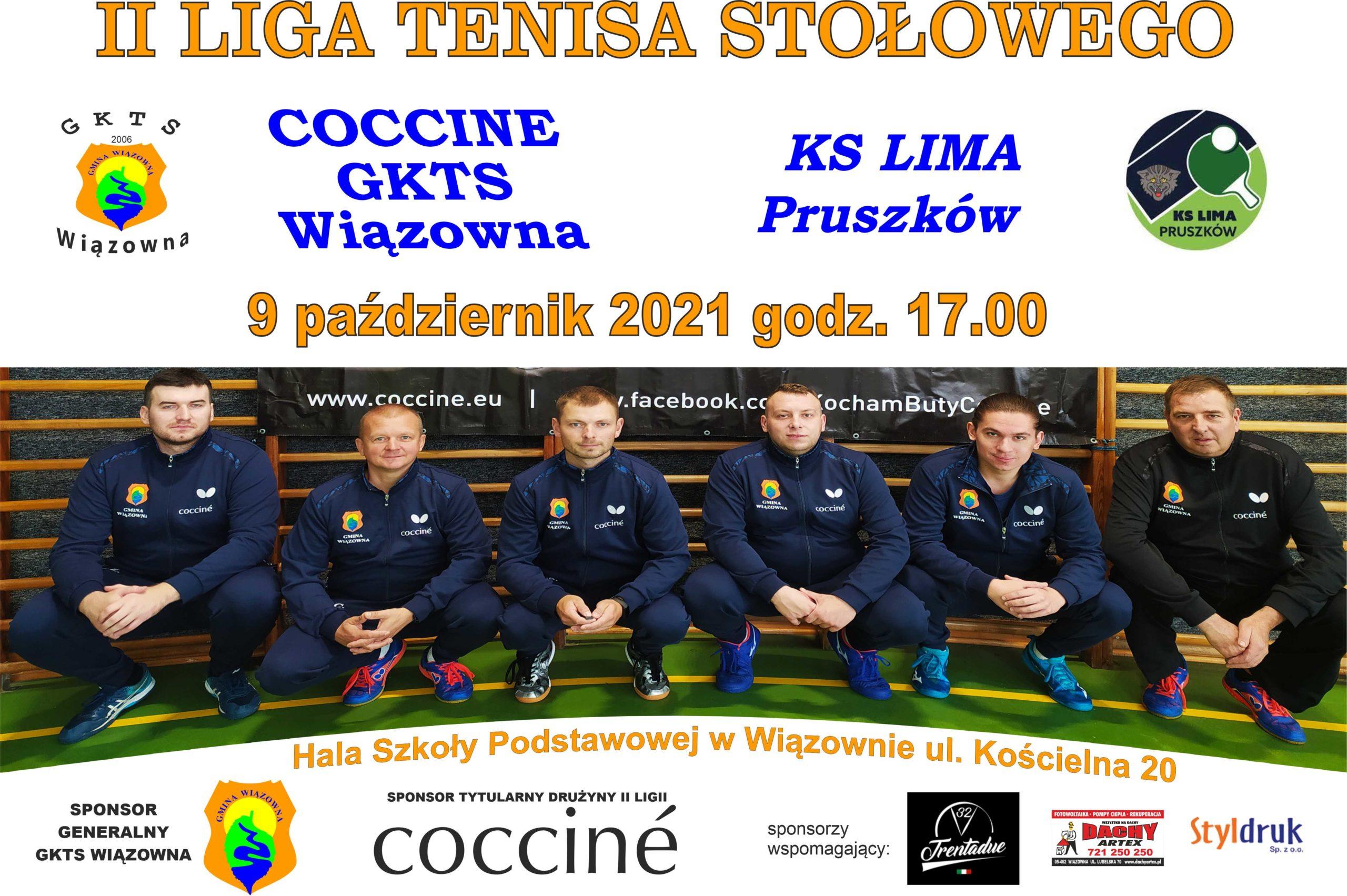 Mecz II ligi mężczyzn w tenisie stołowym pomiędzy: COCCINÈ GKTS WIĄZOWNA- KS LIMA PRUSZKÓW odbędzie się w najbliższą sobotę 9 października o godz. 17.00 w hali Szkoły Podstawowej w Wiązownie (ul. Kościelna 20).