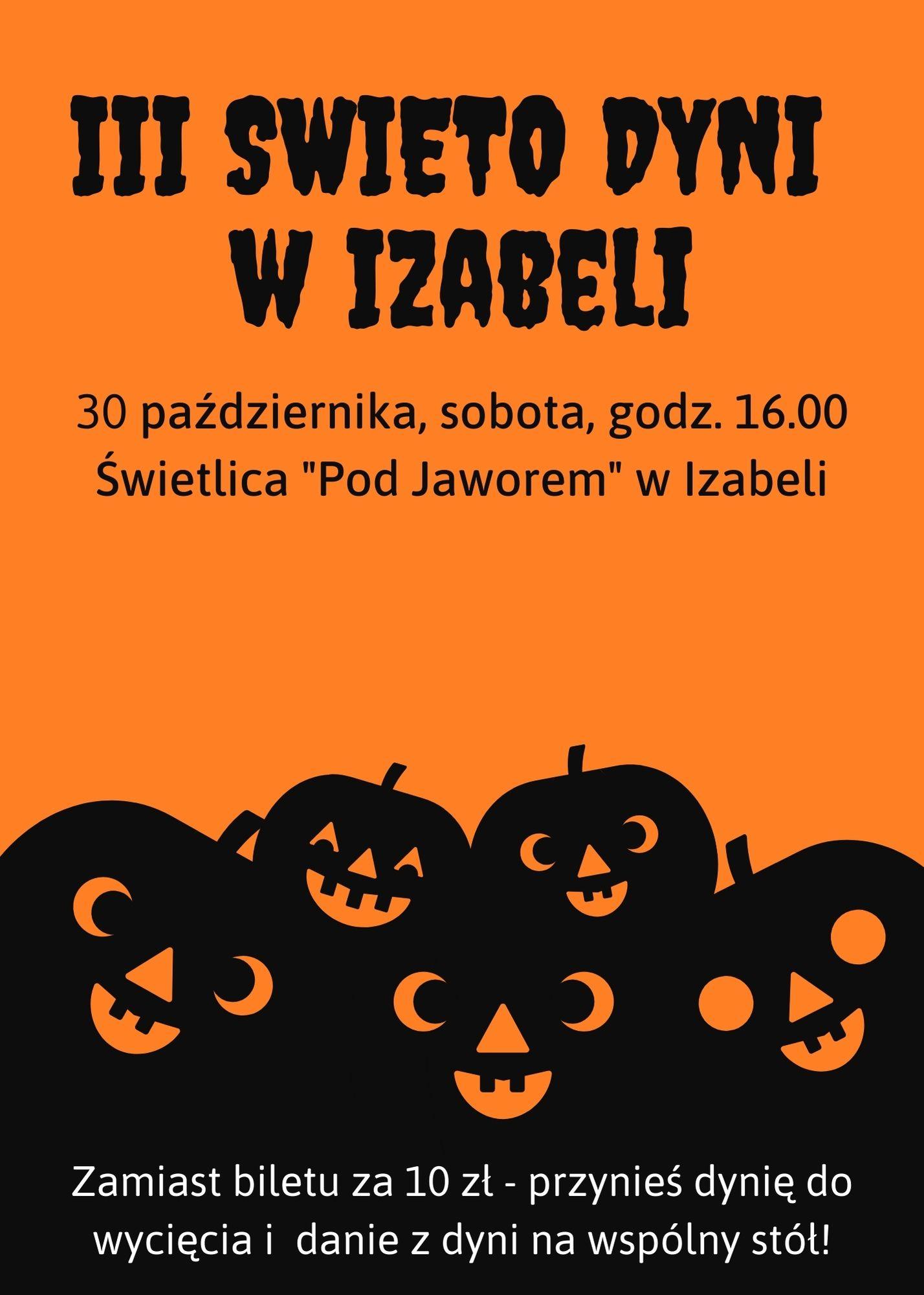 Plakat - zaproszenie na święto dyni w świetlicy w Izabeli 30 października o godz 16.00