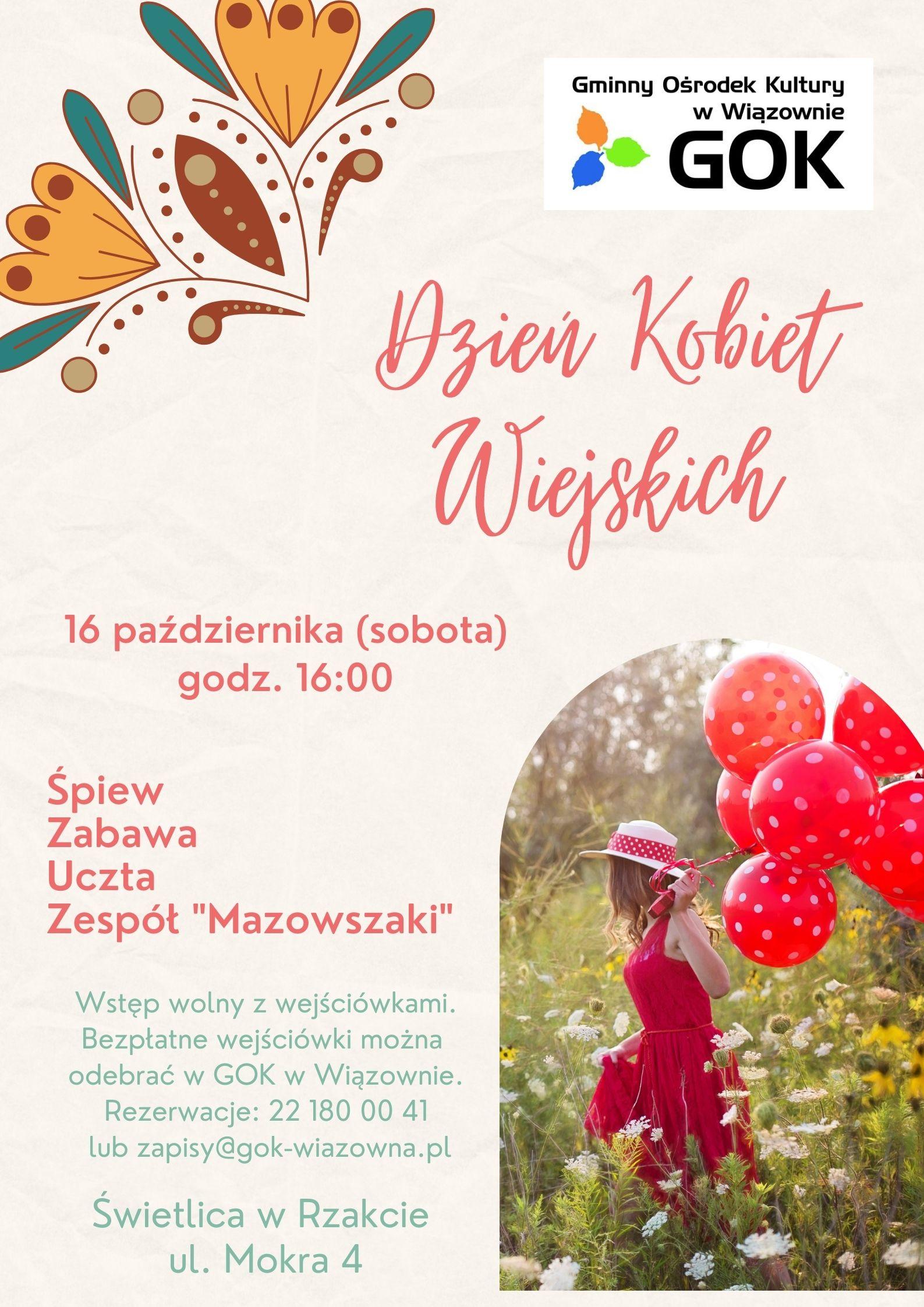Zapraszamy 16 października (sobota) na godz. 16.00 do świetlicy w Rzakcie na Dzień Kobiet wiejskich