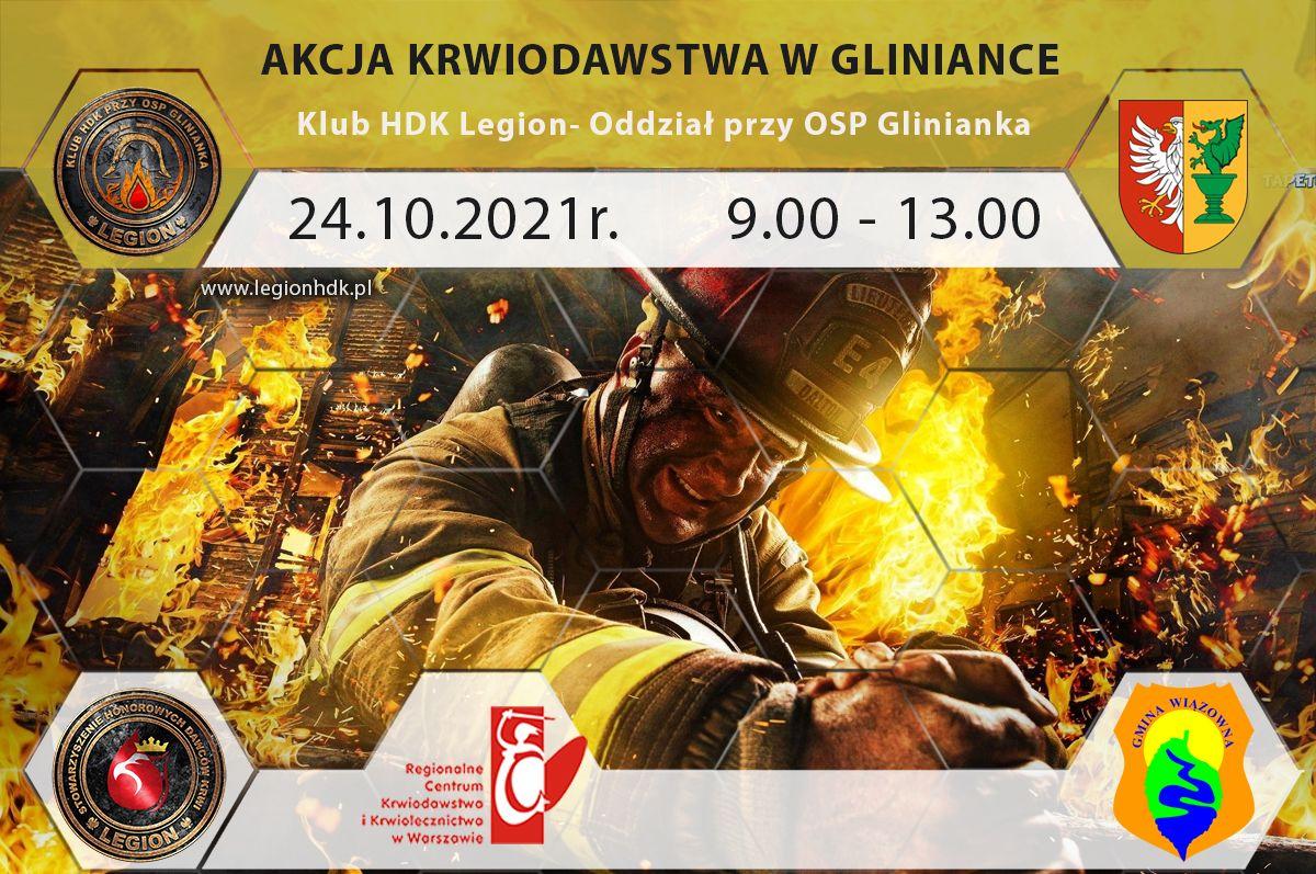 Plakat promujący akcję krwiodawstwa przy OPS w Gliniance 24 października w godz. 9.00 - 13.00