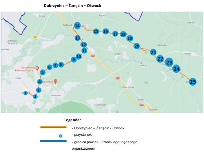 Schemat połączeń nowej linii autobusowej Dobrzyniec - Wiązowna - Otwock